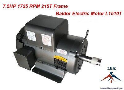 7.5HP Single Phase Baldor Electric Compressor Motor 215T Frame # L1510T 230 Volt