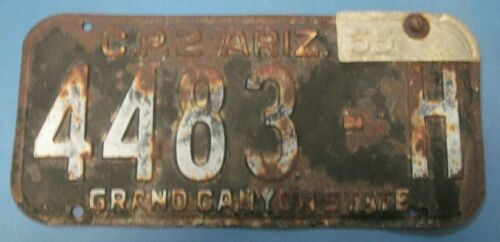 1955 Arizona license plate date tab on 1954 dated plate