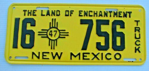 "NEAR MINT ! 1947 NEW MEXICO TRUCK  LICENSE PLATE "" 16  756 "" ORIGINAL CONDITION"