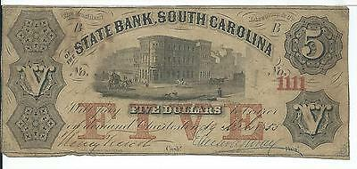 President Directors State Bank South Carolina  5 1855 Low Serial  148 G22a Note