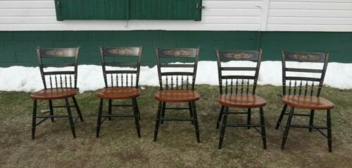 SET OF 5 Vintage L. Hitchcock Chair Black Harvest Country Maple