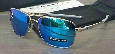 New Oakley GAUGE 6 Sunglasses 6038-0257 Gloss Chrome w/Prizm Sapphire Iridium