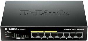 D-Link DGS-1008P 8-Port Gigabit PoE Unmanaged Desktop Switch 4 PoE ports
