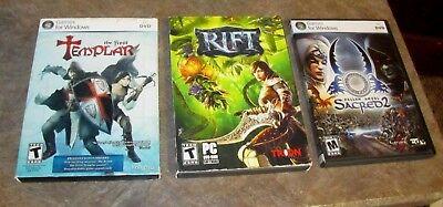 Computer Games - Lot 3 PC COMPUTER GAMES The First Templar,Rift,Fallen Angel Sacred 2