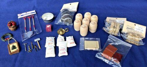 Vintage Miniature Dollhouse Accessories Lot Of 31 Items Rain Barrel Shovels Hay