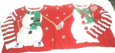 Couples Christmas Sweater Two Person Jumper Top Xmas Gift Unisex Sz L / XL