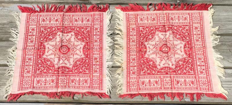 2 Turkey RED DAMASK NAPKIN antique linen vintage textile woven fabric