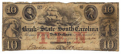 1857 Bank Of The State Of South Carolina  Charleston    10 Obsolete Note No 57