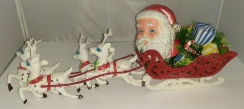 "Vintage Plastic Santa + Flocked Sleigh Display Melrose Flower Hong Kong 18 1/2"""