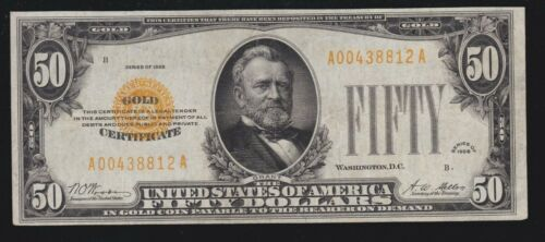 US 1928 $50 Gold Certificate FR 2404 VF-XF (-812)