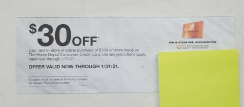 Home Depot Coupon 30 Off Of 300 Purchases ONLINE Exp 1/31/21 ASAP  - $7.99