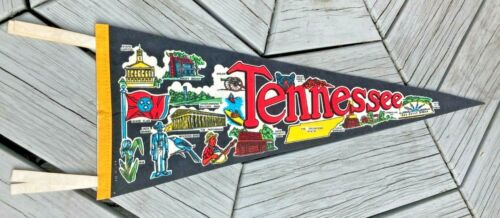 """Vintage 26"""" Tennessee Pennant Volunteer State, Smoky Mts. Bright Color Rare"""