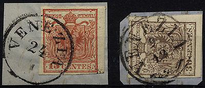 LOMBARDEI-VENETIEN 1850 2Marke:-15C, und -30C, Verschiedene VENEZIA Stempeln