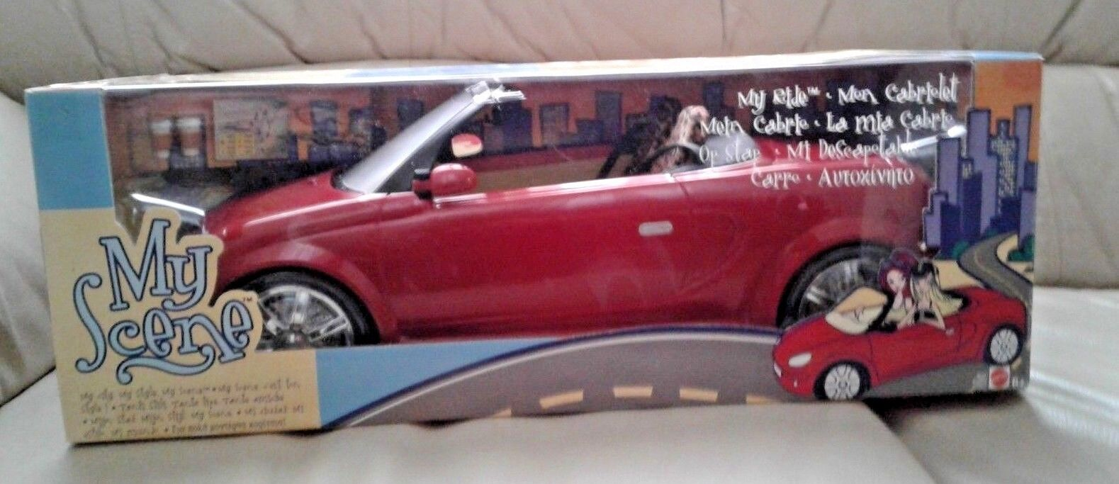 Barbie My Scene My Ride Red Convertible Car Leopard Print Seat + Accessories NEW