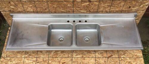 "Vtg Industrial Mid Century 84"" Stainless Steel Double Basin Elkay Sink 576-20E"