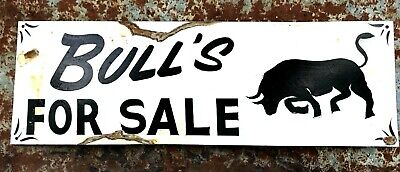 Vintage Western Rusty BULLS FOR SALE Barn Stable Hand Painted Cattle Ranch Sign