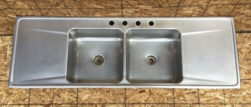 Vtg Mid Century 22x66 Stainless Steel Double Basin Drop In Kitchen Sink 455-20E