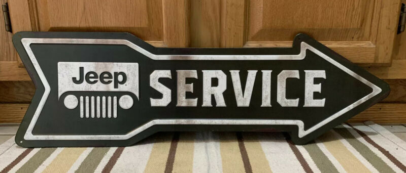 Jeep Service Sign Parts Garage Vintage Style Gas Oil Bar Pub Lift Kit Tire Arrow