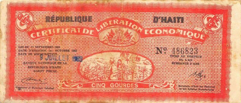 Haiti  5  Gourdes  1.10.1962  P 502  Circulated Banknote XB10