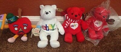 Lot of Collectibles 1999 Mr. Apple Ruby eBay Official Bean Bag Toy Stuffed Plush