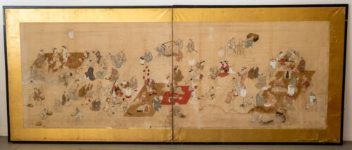 Antique Large Japanese Screen Two Panel Painted Watercolor Wall Hanging As Is