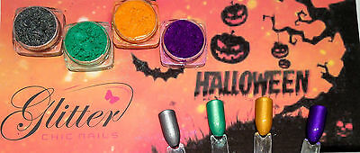 HALLOWEEN CANDY TREATS COLLECTION - NAIL ART PIGMENT - 4 COLOURS SET -SPECIAL  (Nail Art Special Halloween)