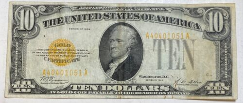 1928 small $10 Gold Certificate Currency Note Serial #40401051