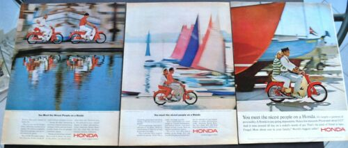 Lot of 3 Vintage Honda 50 Motorcycle Print Ad You Meet the Nicest People 1960s