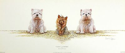 """WARWICK HIGGS """"Three?s Company"""" TERRIERS dogs canines! SIZE:25cm x 59cm  RARE"""