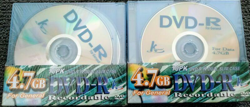 KHYPERMEDIA DVD-R 10 PACK x 2 / 4.7GB/DUAL THIN CASES/BRAND NEW/TAIWAN