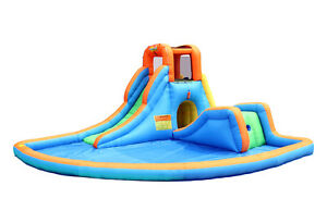 Bounceland-Inflatable-Cascade-Water-Slides-with-large-pool