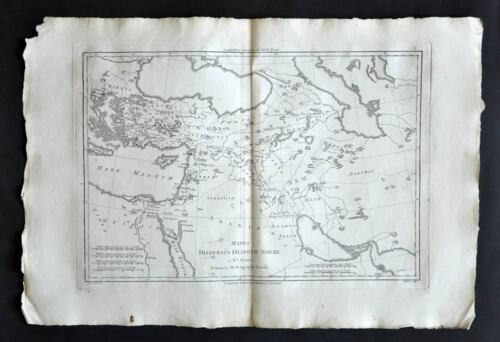 Dispersion Of Children Of Noe map Geographic old, Old Antique Map 1787