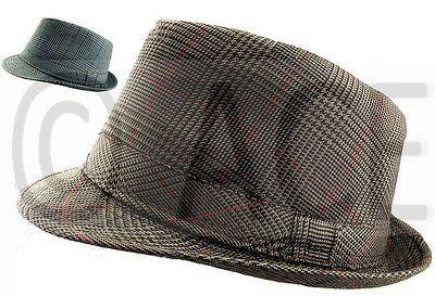 Unisex Mens Womens Check Tweed Fedora Hats Dance Costume Gangster Trilby - Costume Fedora Hats