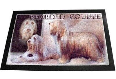 Designer Fußmatte Bearded Collie 1 Beardedcollie Hundeteppich Fussabtreter 80x60