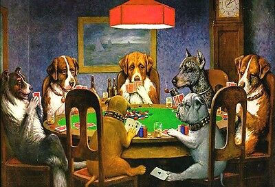 (Dogs Playing Poker - Animal Poster Print - Classic Painting - Wall Art - Basset)
