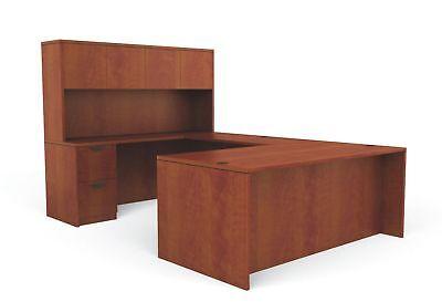 Reversible Dark Cherry Laminate U Shape Office Furniture Desk