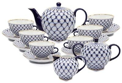 Lomonosov Design 17-pc Russian Cobalt Blue Net Tea Cup Set, Saint Petersburg 24K