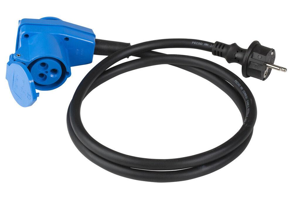 Kupplung IP44 AS Schwabe schwarz 230V// 16A max Gummistecker 2,5mm² Schuko