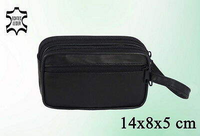 Herren Tasche Echtes Leder Handgelenktasche Handtasche Schwarz - 14 x 8 x 5 cm -