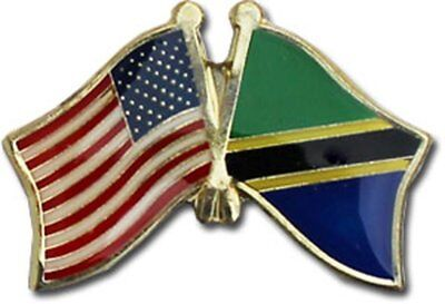 Wholesale Pack of 50 USA American Tanzania Friendship Flag Hat Cap lapel Pin