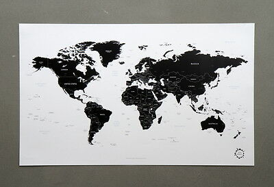 Traveler New Black and White World Map Ver.2 Unique Design Poster