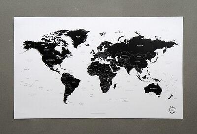 Black and White World Map Version 2 Unique Design Poster