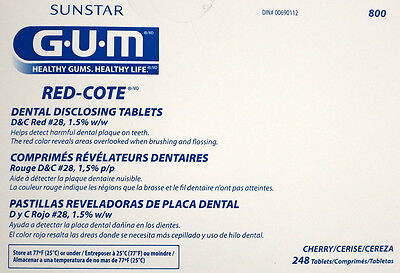 (Sunstar GUM Red-Cote Disclosing Plaque Tablets-Cherry Flavor-Box of 248)