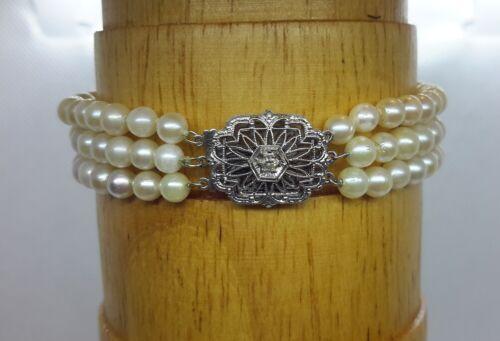 3 STRAND PEARL 14K WHITE GOLD FILIGREE CLASP & DIAMOND BRACELET