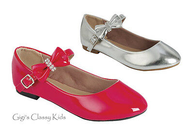 New Girls Toddler Youth Red Silver Dress Shoes Flats Mary Jane Dorothy Kids](Girls Silver Flats)