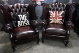 Stunning Pair of Chesterfield Queen Anne Wing Back Chairs in Oxblood Leather - Uk Delivery