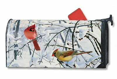 Magnet Works Winter Morning Cardinals Birds Original Magnetic Mailbox Wrap Cover