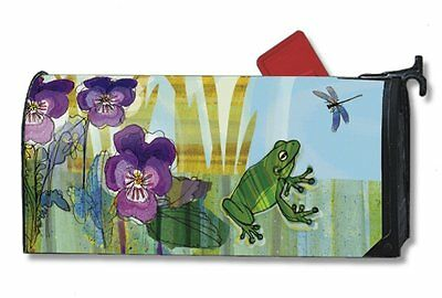 Magnet Works Pansy Prince Frog with Flowers Original Magnetic Mailbox Wrap Cover