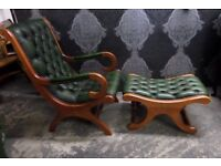Stunning Chesterfield Slipper Chair with Matching Foot Stool Green Leather - Uk Delivery