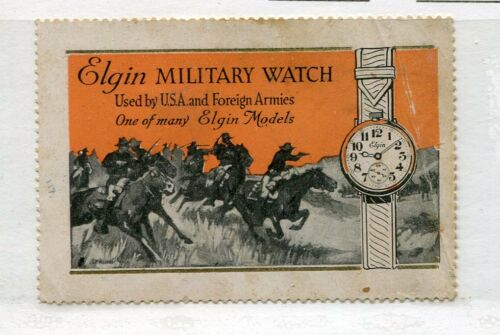 Poster Stamp Label ELGIN MILITARY WATCH WW1 USA & Foreign Armies Use soldiers